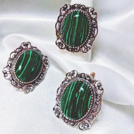 янтарь кольцо серьги серебро