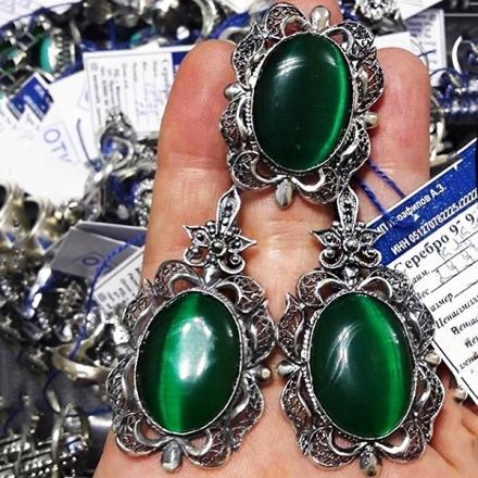 серьги украшения серебром