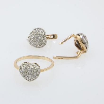Комплект кольцо+серьги в форме сердечка из золота
