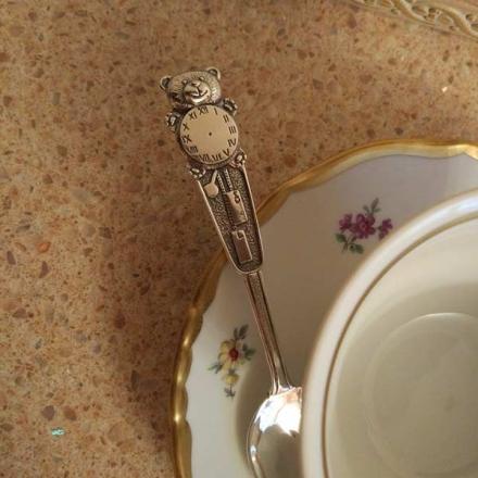 ложка серебряная детская мишка