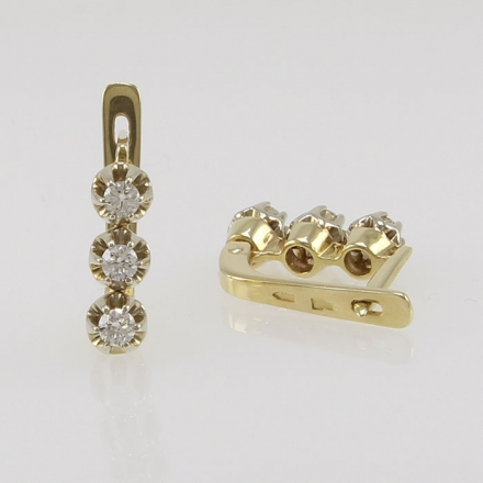 золотые серьги-светофоры с тремя бриллиантами