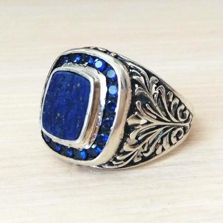кольцо серебряное +с синим