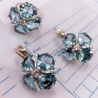 Серьги+ кольцо  серебро фианиты