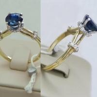 Кольцо  сапфиром и бриллиантами