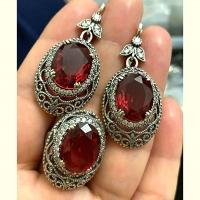 Серьги + кольцо с красным камнем серебро
