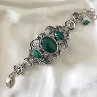 серебряное кольцо +с малахитом