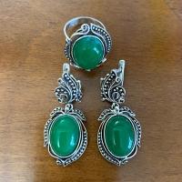 серебряные украшения +с малахитом