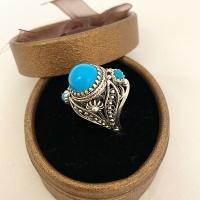 Кольцо с натуральной бирюзой