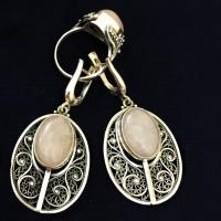 Серьги с розовым кварцем серебро