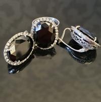 Серьги+кольцо с черным камнем