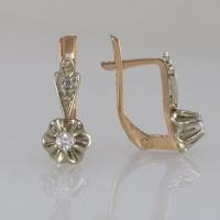 Маленькие серьги-тюльпаны с бриллиантами
