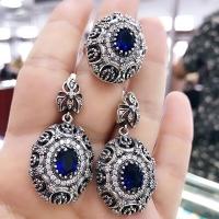 Серьги с  синими камнями