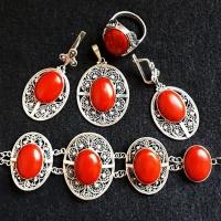 Серебро с красным камнем