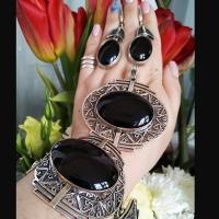 купить кольцо +с черным агатом