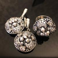 Комплект из серебра, с жемчугом и фианитами