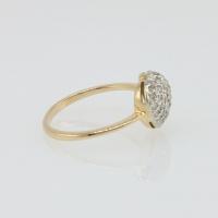 Кольцо из золота 585 с мелкими бриллиантами в форме сердца