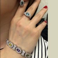 Кольцо+ серьги и браслет с цветными фианитами