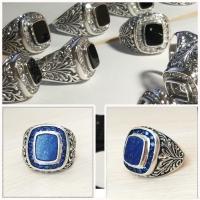 мужские кольца синие