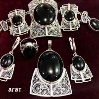 Серебро с черным агатом