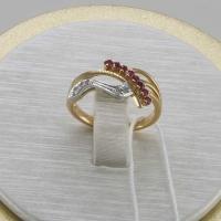 Золотое кольцо 585 с  бриллиантами и рубинами