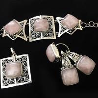 Серебро  с  розовым кварцем
