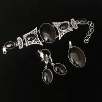 Серебро комплект с черным агатом