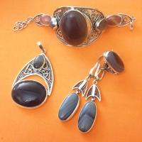 Комплект из серебра с крупным камнем