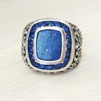 серебряное кольцо +с синим камнем