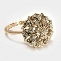 Кольцо из золота 585 с фианитами