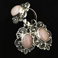 Серьги из серебра с  розовым кварцем