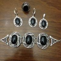 Комплект из серебра с черным агатом