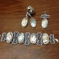 Украшения с перламутром в серебре