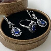 Серебряные комплекты серьги и кольца