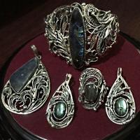 Комплект из серебра с лабрадором