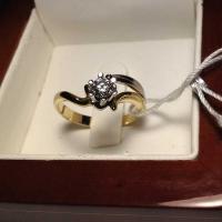 Кольцо из лимонного  золота  с одним бриллиантом