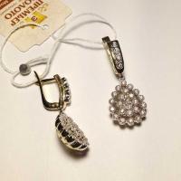 Cерьги-капли из золота 585 с  бриллиантами
