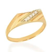 Мужской перстень из золота  с фианитами