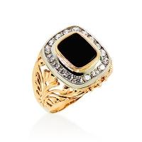 Мужской перстень из золота  с фианитами и агатом