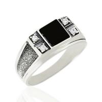 Мужское кольцо с агатом и  фианитом