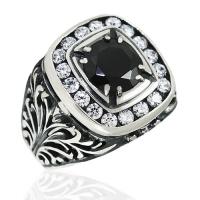Ажурное мужское кольцо с агатом и  фианитом