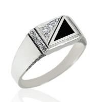 Кольцо  с агатом и  фианитом, серебро 925