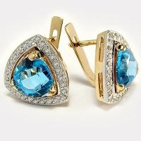 Золотые серьги с бриллиантами и  топазом
