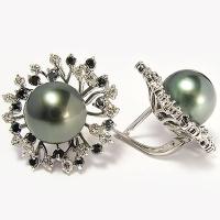 Бриллиантовые серьги с черным жемчугом
