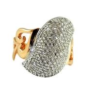 Кольцо крупное  с россыпью  бриллиантов