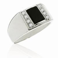 Кольцо из серебра с фианитами и агатом