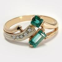 Кольцо из золота 585 с изумрудом и бриллиантами