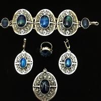 Серебро с синим камнем