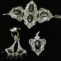Авторские украшения из серебра с черным агатом