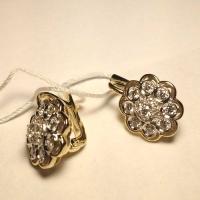 Серьги золотые с  бриллиантами Малинка