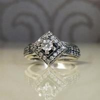 Серебряное кольцо Ромб